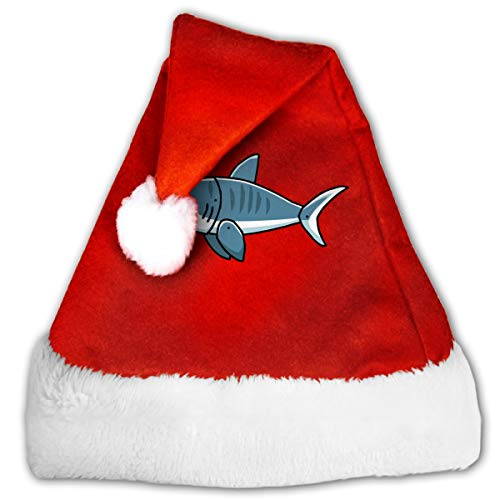 Tiger Shark Red Velvet Santa Hat for Christmas Theme Costume Accessory
