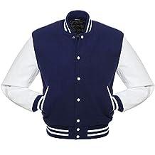 Royal Blue Letterman Jacket, White Leather Sleeve, Wool Body, Heavy duty Rib