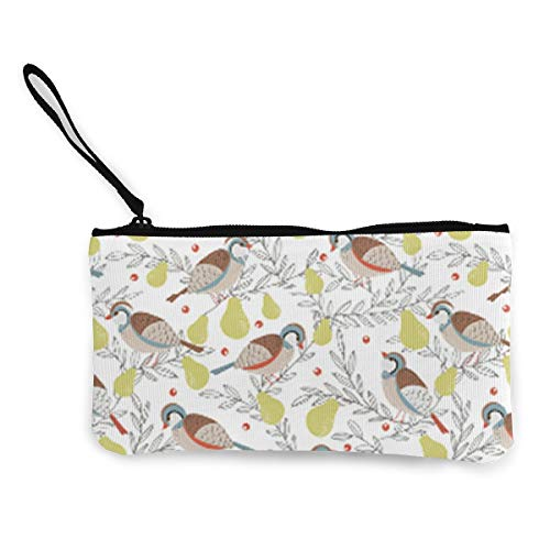- In A Pear Tree Coin Purse Travel Makeup Pencil Pen Case With Handle Cash Canvas Zipper Pouch 4.7