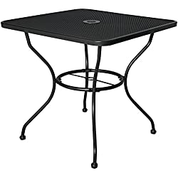 "Cloud Mountain 30"" x 30"" Outoor Dining Table Square Patio Bistro Table Powder-Coated Steel Frame Top Umbrella Stand Deck Outdoor Furniture Garden Table, Ash Black"