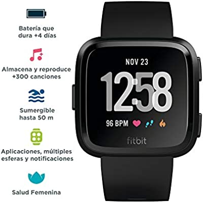 Fitbit Versa Smartwatch Deportivo, Negro / Gris: Fitbit ...
