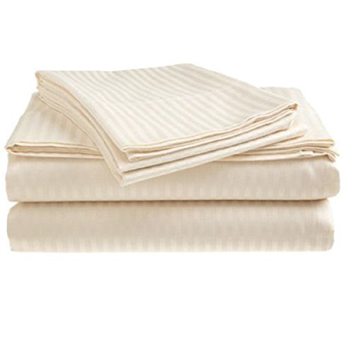 QUEEN SIZE 1500 Thread Count STRIPED Sheet Set, CREAM