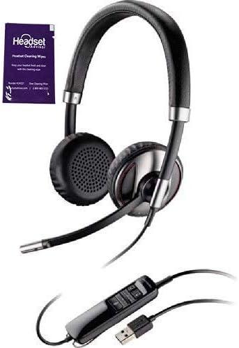 Plantronics Blackwire C725 USB Wired HeadsetANC BundleHeadset Advisor Wipe (Renewed)
