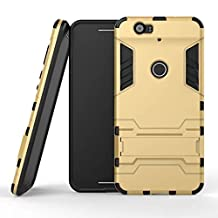 Nexus 6P Case,Lantier Dual Layer Case with Built-in Kickstand,Lightweight Slim Fit Dual Layer Hybrid Armor Protective Case Cover for Nexus 6P Golden