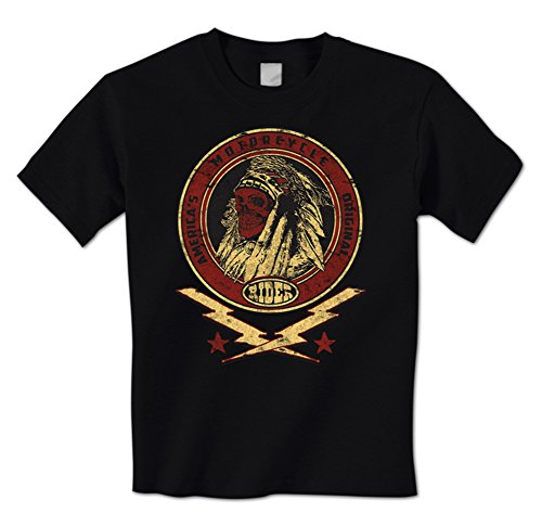 America's Original Motorcycle Rider -Indian Chief Skull Lightning Mens T-Shirt Large Black
