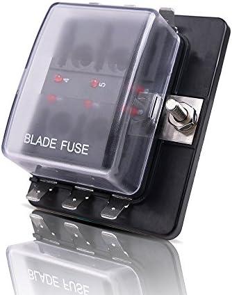 MICTUNING Auto KFZ 6 Fach Sicherungskasten ATO ATC Flachsicherung Sicherungshalter 32V 100A mit LED Anzeige