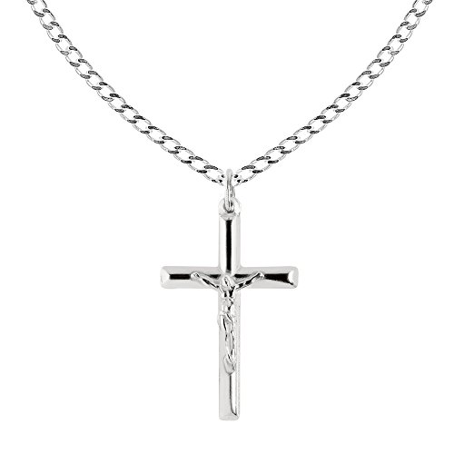 - Ritastephens Sterling Silver Italian Crucifix Cross Pendant Only or Chain Necklace (35mm)