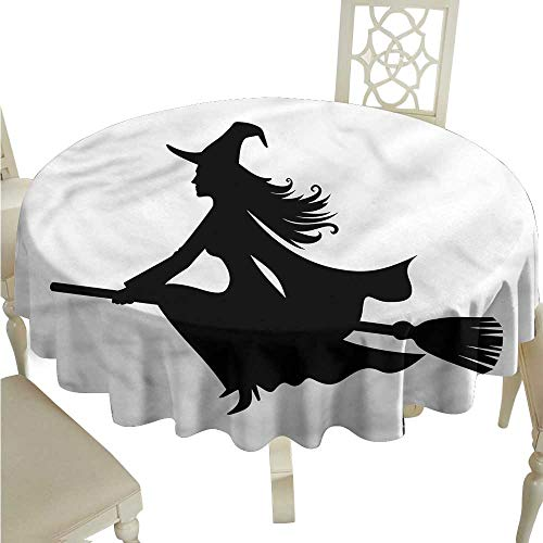 crabee Round Tablecloth Plaid Witch,Fantasy World Creature Flying,Rectangle Desk Cloth