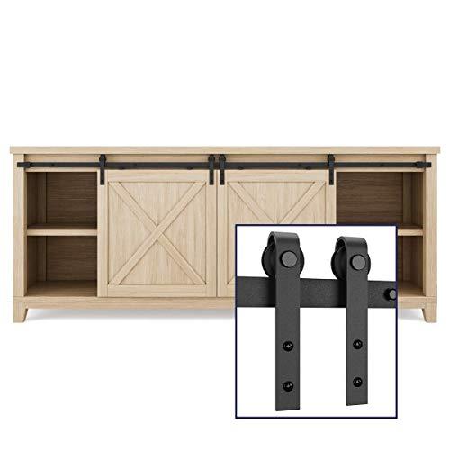 "SMARTSTANDARD 6.6FT Mini Sliding Barn Door Cabinet Hardware Kit for Cabinet TV Stand Closet, Black, One-Piece Track Rail, Easy to Install, Fit 26"" Wide Single DoorPanel, J Shape Hanger (NO Cabinet)"