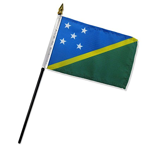 "- 4x6 inch Solomon Islands Table Desk flag mounted on a 10 inch Black Plastic stick staff (Super Polyester) cloth Fabric (Sewn Edges for Durability) 4""x6"" 4inch x 6inch"