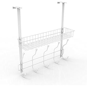 NEX Over The Door Hook Shelf Organizer 5 Hooks With Basket Storage Rack,