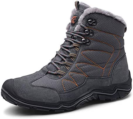 ailishbroy Mens Hiking Mid Waterproof Boots Winter Warm High Top Leather Shoes Oxfords Lace Up Outdoor Sneakers