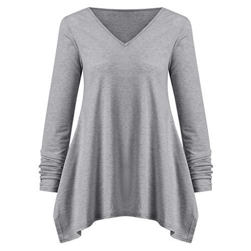 En Tefamore Solide Chemisier V Femmes Encolure Tunique Longues Gris Casual Manches Shirt À Mouchoir vWR6Svr
