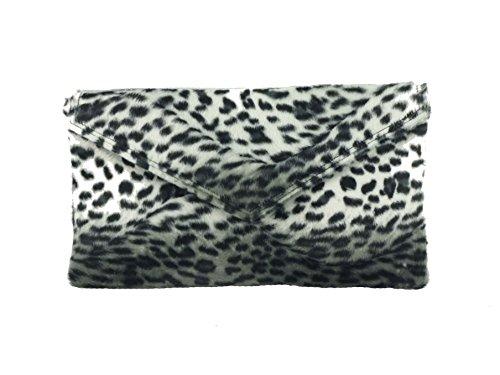 d16c298fb0fa Loni Womens Neat Envelope Animal Print Faux Fur Clutch Bag Shoulder Bag. Tap  to expand