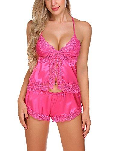 Rosa Pantalon Notte Due Da Sexy Pizzo Donna Camicie Completo Pigiama Pezzi Enjoybra Top O7q4RFpwn