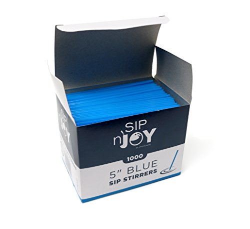 Crystalware, Plastic Stirrer, Sip Stirrer, For Coffee and Cocktail, 5 Inches, 1000/Box, Blue
