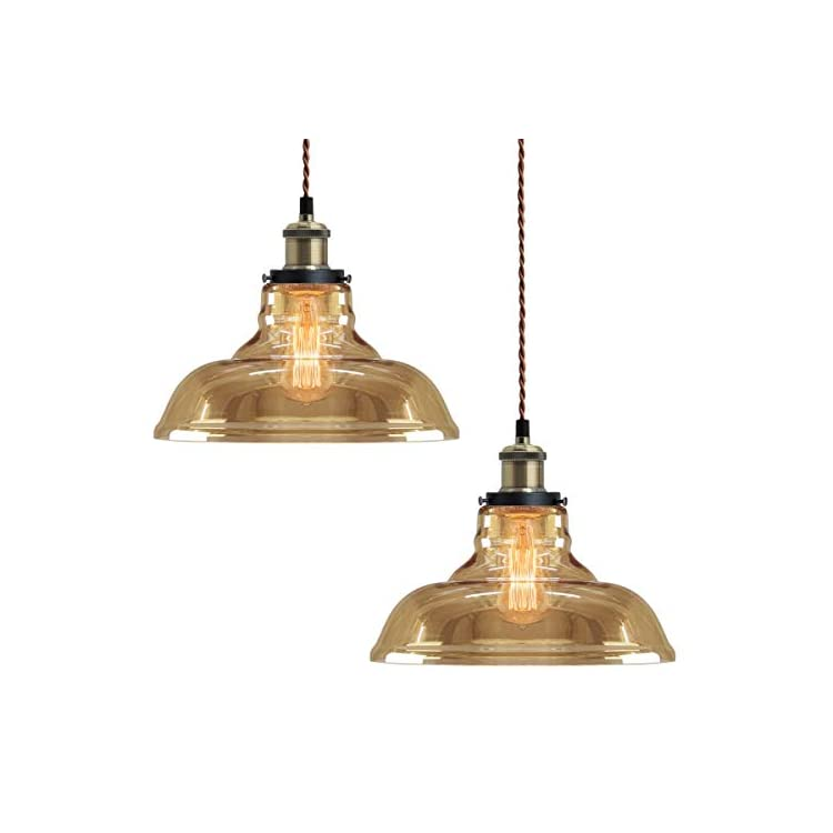 2 x Modern Loft Industrial Glass Bowl Pendant Light Shade Smoked Antique Brass Retro Vintage Ceiling Lighting 83