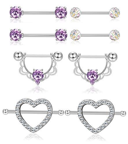 - ORAZIO 4 Pairs 14G Stainless Steel Nipplerings Nipple Tongue Rings CZ Opal Barbell Body Piercing Jewelry (D:4 Pairs Purple)