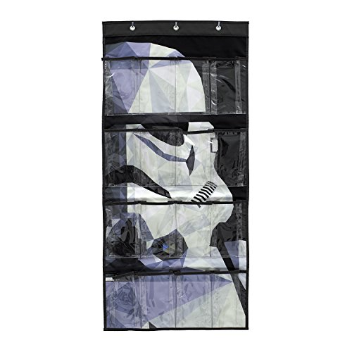 Everything Mary Star Wars Geometric Shoe Organizer | 16-Pocket Hanging Shoe Organizer for Closet and Bedroom Storage | Disney Over the Door Shoe Organizer for Children, Kids Toys (Storm - Wars Pocket Star Your
