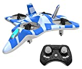 ZEGO F22 Remote Control Quadcopter Fighter Jet with 360° Flip, 2.4GHz 6-Axis Gyro Technology and 4 Blade Propellers (Blue)