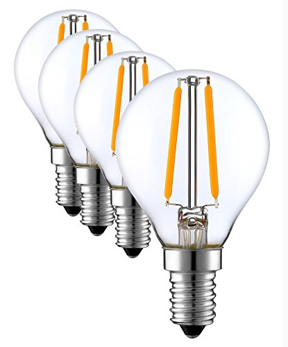 SleekLighting 2 Watt G16.5 E12 LED Filament Globe Light Bulb, Dimmble (25W Incandescent Replacement) Warm White 2700K - 4 Pack