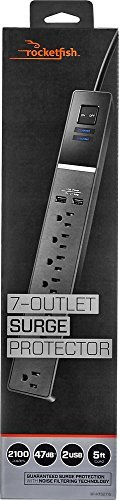 Fish Usb - TM - 7-Outlet Surge Protector - Black