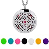 Aromatherapy Essential Oil Diffuser Necklace AromaHouse 316L Stainless Steel Locket Pendant Jewelry,24'' Adjustable Chain+7 Refill Pads
