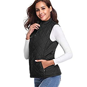 Fuinloth Women's Quilted Vest, Stand Collar Lightweight Zip Padded Gilet