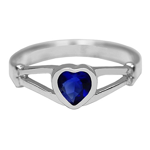 Size 4 Dk Blue Heart Small Finger Ring-Silver Color Imitation September Birthstone Ring
