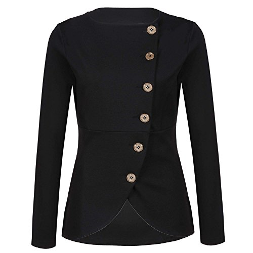Women's Ladies Causal Long Sleeve Open Front Unbalanced Single-Breasted Outwear Black XXL
