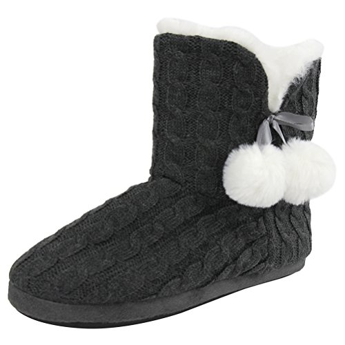 Gohom Dames Faux Fur Black Fringes Indoor Slipper Boots Smokey Grey