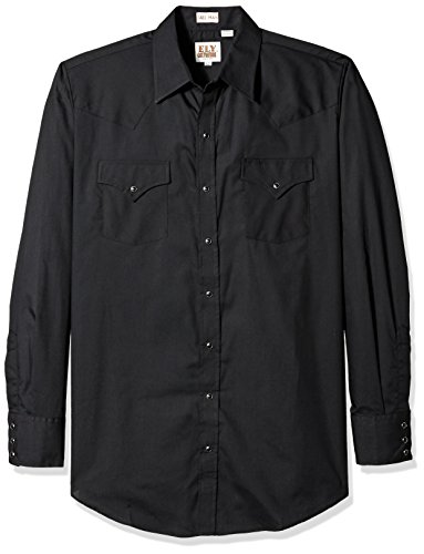 Ely & Walker Men's Size Long Sleeve Solid Western Shirt, Black, 2X-Large Tall (Black Walker Snap)