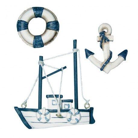 Tres Juego de miniaturas de flotador de salvamento, anclaje y barco, resina, color crema y azul, 4-7,5 cm: Amazon.es: Hogar