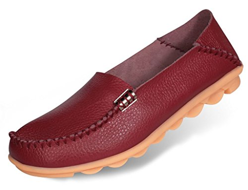 Labato Women's Cowhide Leather Casual Flat Driving Loafers Driving Moccasin Shoes Wine Red-4