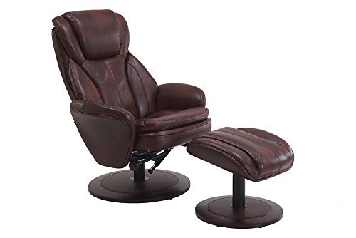 Leather Like Swivel Recliner (Mac Motion Recliner with Matching Ottoman in Whisky Breathable Air Leather with Apline Frame)