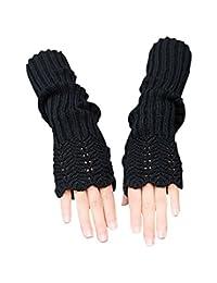 Novawo Women's Scale Design Winter Warm Knitted Long Arm Warmers Gloves (Black)