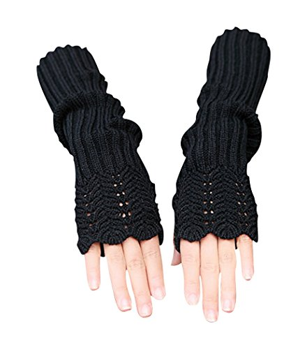 Novawo Women's Scale Design Winter Warm Knitted Long Arm Warmers Gloves Mittens (Knitted Fingerless Gloves)