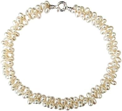 Collar de dos vueltas con perlas blancas cultivadas de agua dulce de 8-10mm con broche en plata