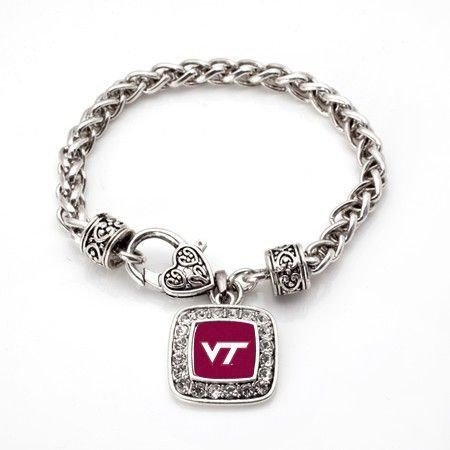 Virginia Tech Hokies NCAA Officially Licensed Silver Plated Square Crystal Charm Bracelet (Square Logo Tech Virginia)