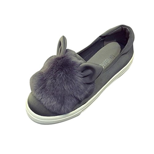 Frosted Kaninchen Ohren flachen Schuhe, Kaiki Nette warme Frauen flache Schuhe Frauen Herbst Winter Schuh Art und Weise Gray