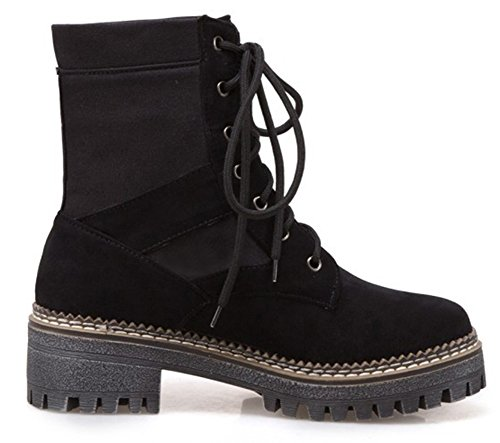 Cool Wedge SHOWHOW Martin Round Boots Heighten Toe Lace Up Women's Ankle Black Heel UarFqw5
