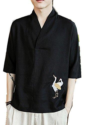 Ping Mens Long Sleeve - Qiu ping Men's Chinese Style Tang Suit Hanfu Antique Linen Loose Half-Sleeve T-Shirt