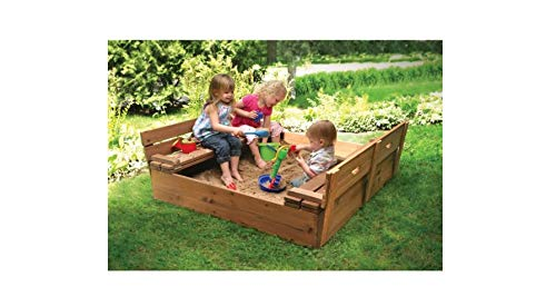 Sandbox with Fold Bench Seats for Children - Very Sturdy and Strong Child Outdoor Backyard Toy - Covered and Convertible Play Area for Kids - Solid Wood Construction - Fun for Family, Kids And Friends