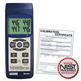 REED Instruments SD-947 SD Series Thermocouple Thermometer, Data logger, 4 Channel, Type K, J, R, S, E, T and RTD, with NIST Calibration Certificate