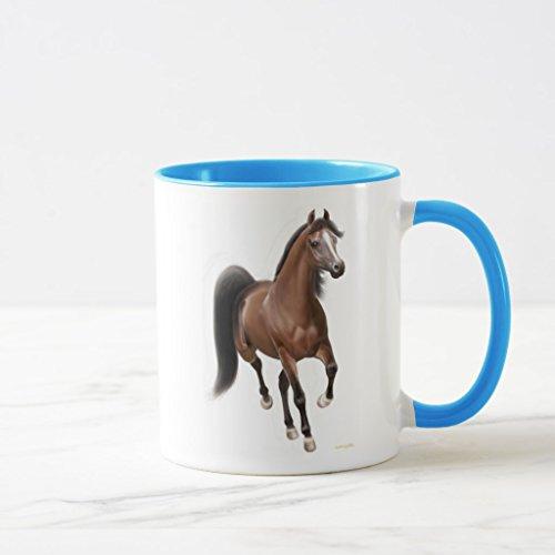 Zazzle Trotting Arabian Horse Frosted Glass Mug, Light Blue Combo Mug 11 oz by Zazzle