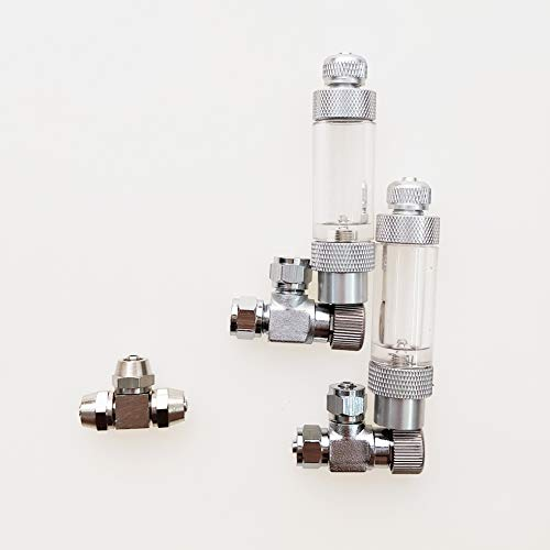 BASE WAVE 2 pcs of Needle valves with Bubble Counter Check valves + Metal tee for CO2 DIY...