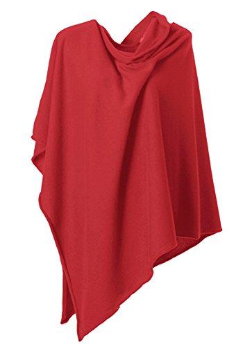 Anna Kristine Asymmetrical 100% Cashmere Draped Poncho Topper - Classic Red by Anna Kristine