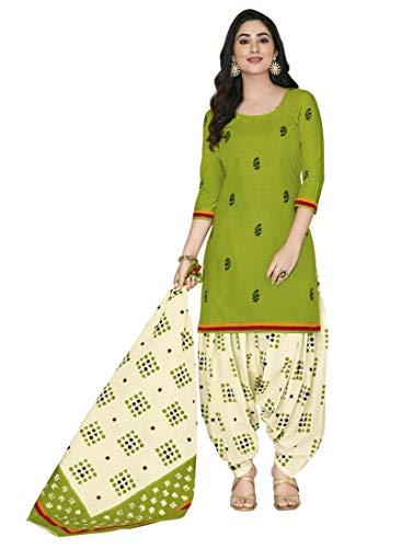 Miraan Cotton Printed Readymade Salwar Suit For Women(MIRAANSGPRI423, Green)