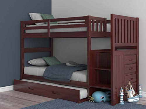 Discovery World Furniture Staircase Bunk Bed with Trundle, Twin over Twin (Merlot) ()