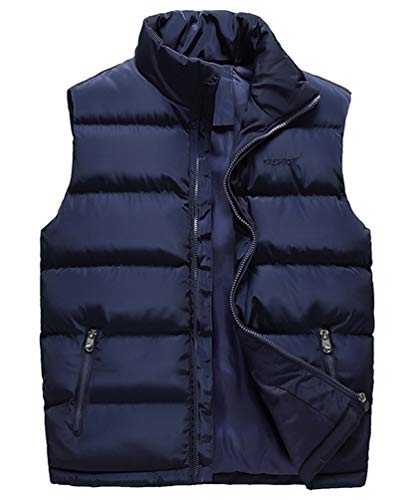 Msmsse Men's Casual Puffer Vest Stand Collar Padded Vest Coats Blue XL/Asia 6XL
